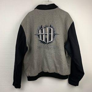 Harley Davidson Gray & Black Snap Varsity Jacket
